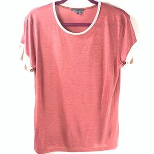 Vince. Coral Rayon Blend Rolled Cuff  t-shirt S